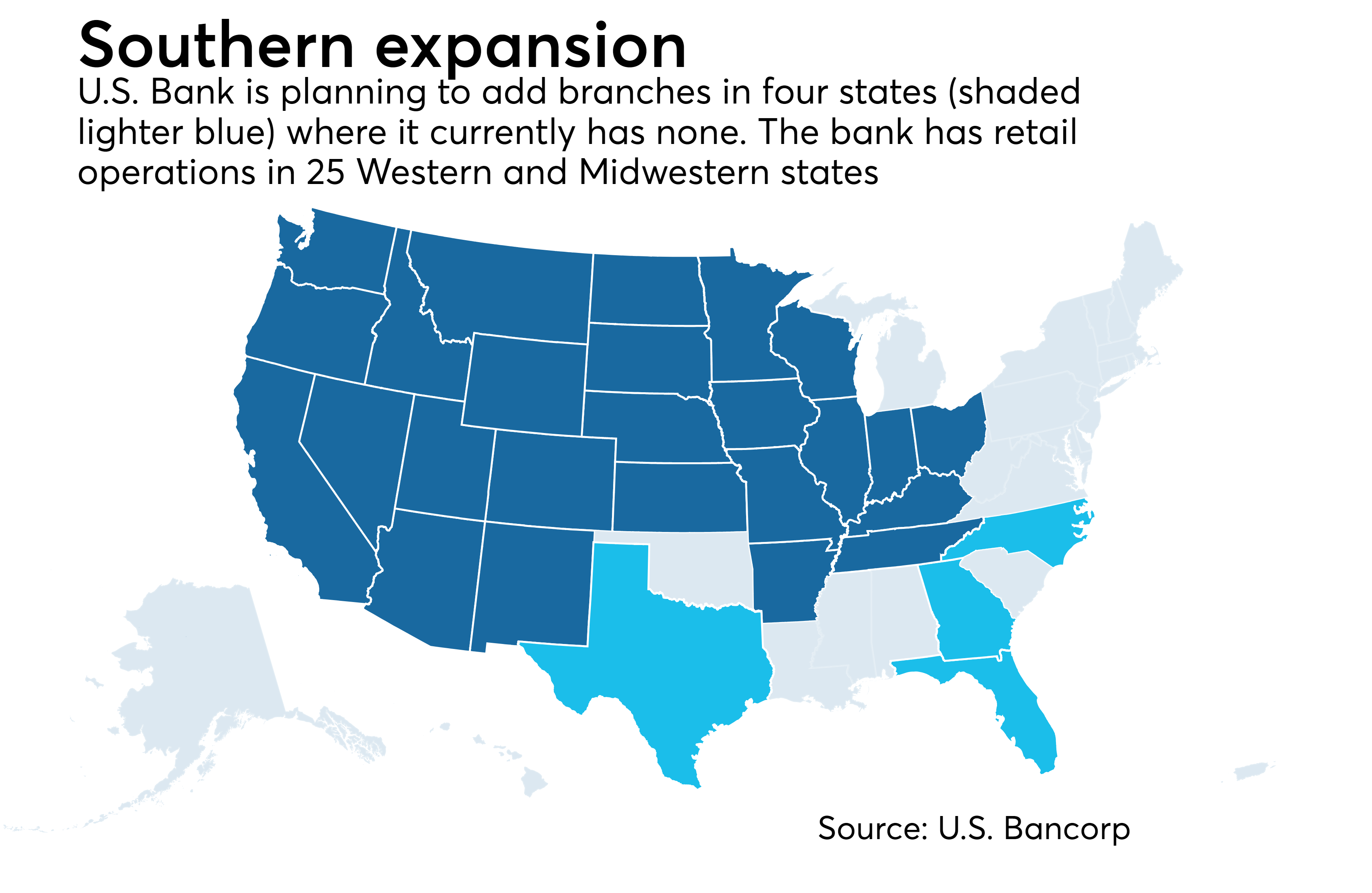 Map Of All Us Bank Locations U.S. Bank eyes expansion in crowded Texas, Southeast markets
