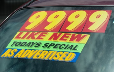 Car window with advertised special