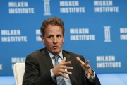Timothy Geithner, president of Warburg Pincus LLC and former U.S. Treasury secretary, speaks during the annual Milken Institute Global Conference in Beverly Hills, California, U.S., on Monday, April 27, 2015