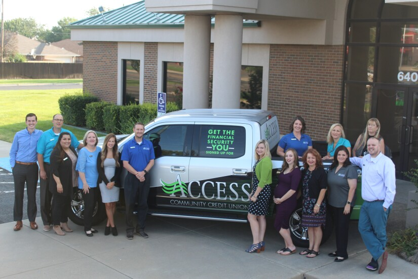 Some of the staff at Access Community Credit Union. Pictured left to right: Vaden Carthel (business development/marketing officer, John Hays (president and CEO), Briana Dominguez (service center lead), Christina Browder (cash department supervisor), Lindsay Edwards (VP of lending), Brad Dewey (EVP/CFO), Breanna Long (Tascosa branch manager), Krista Hays (Paramount branch manager), Deanna Holcomb (senior mortgage officer), Terri Van Doran (manager of systems operations), Mary Forslund (AVP of HR), Vanessa Rodriquez (manager of member service), Sherri Alexander (manager of asset protection) and Keith Hubbard (AVP of service and sales).