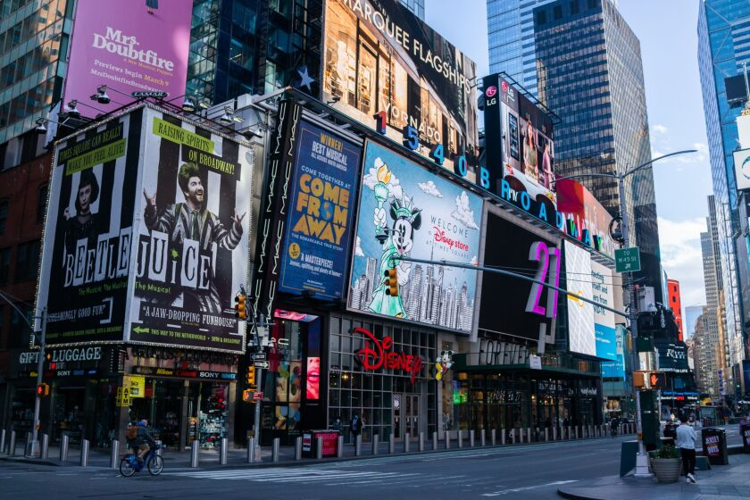 Broadway billboards are displayed in the Times Square area of New York on May 12, 2020. New York City's lockdown is likely to continue into June, Mayor Bill de Blasio said Monday at a press briefing. The state has been under lockdown since March in an attempt to stop the spread of the novel coronavirus. Photographer: Demetrius Freeman/Bloomberg