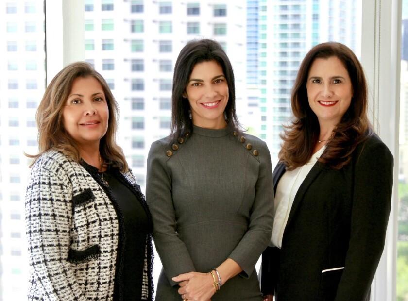 Gabriela Aguilar, Idalia Daguin, and Marina Tudela of IGM Partners join Alex. Brown in Miami.