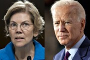 Sen. Elizabeth Warren, right, and former Vice President Joe Biden.