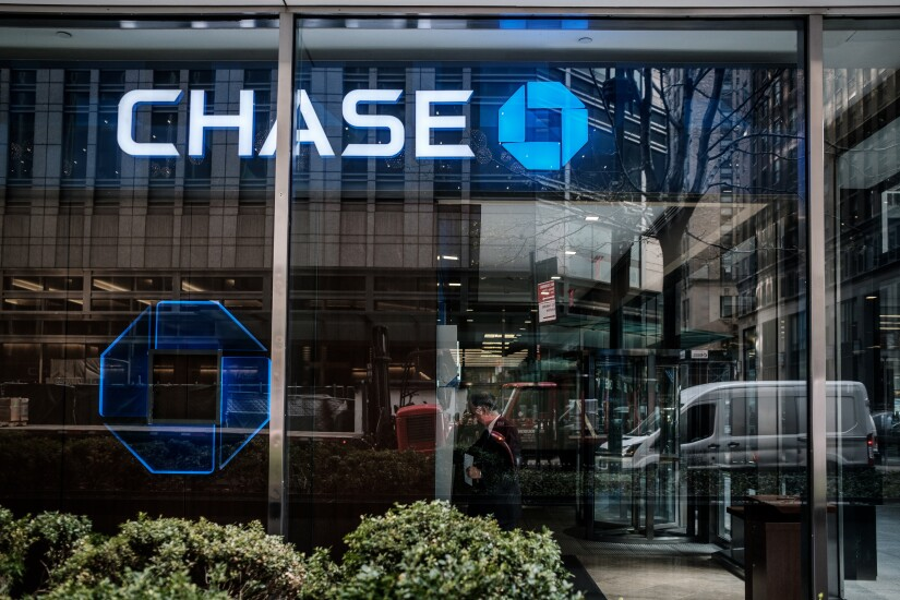 JPMorgan Chase signage is displayed at a bank branch in New York.