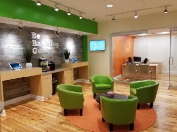 Nutmeg State Financial Credit Union opened this updated branch in early 2017, which combines the familiar and traditional teller area with a self-service tablet station.