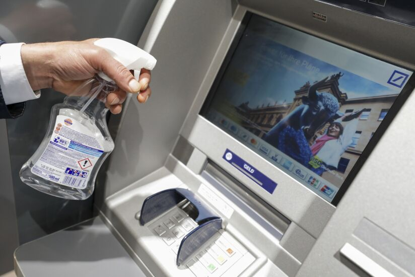 disinfecting an ATM