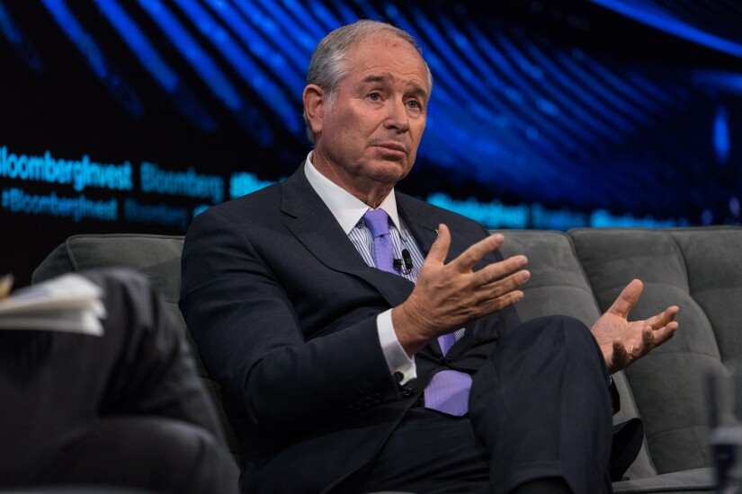 Stephen Schwarzman, co-founder and chief executive officer of Blackstone Group, speaks during the Bloomberg Invest Summit in New York.
