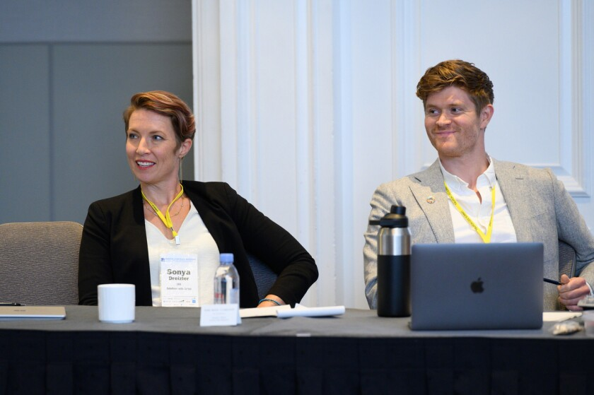 Sonya Dreizler speaking on a panel this month at Tiburon CEO Summit, with Jay Lipman, co-founder of asset management firm Ethic.