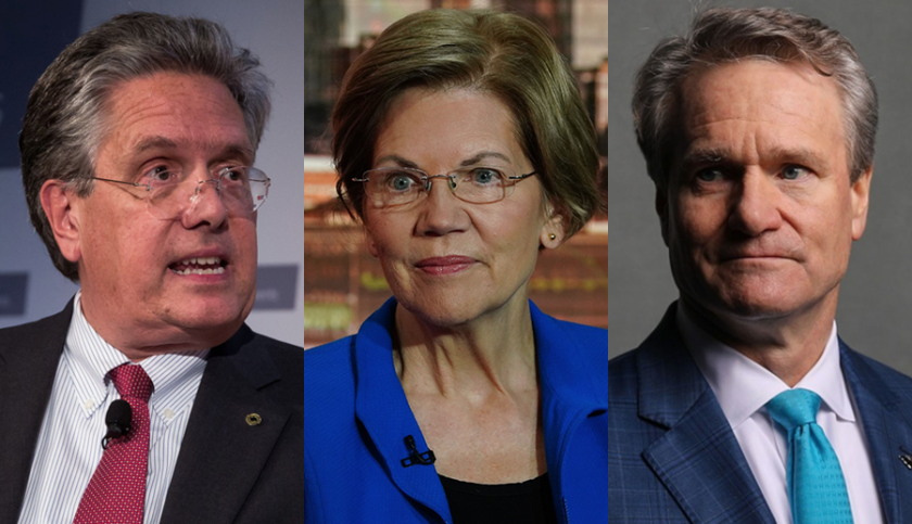 Former Comptroller of the Currency Thomas Curry, left, and Sen. Elizabeth Warren, center, said that if banks move to cut hours or salaries of employees then CEOs should reduce their own pay as well. Brian Moynihan has said that Bank of America, where he is CEO, will not lay off any workers in 2020.