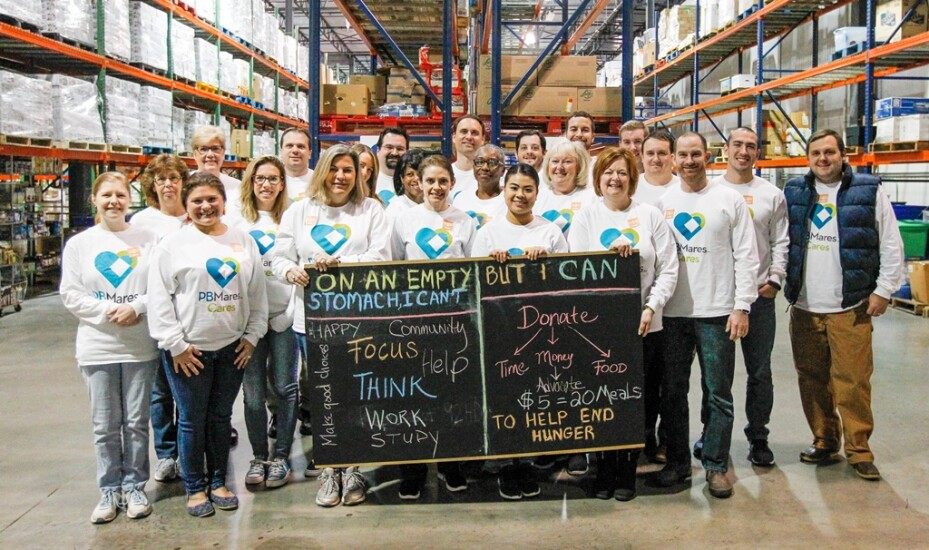 PBMares employees at the Virginia Peninsula Foodbank helped donate enough food for 129 meals and volunteered on-site.
