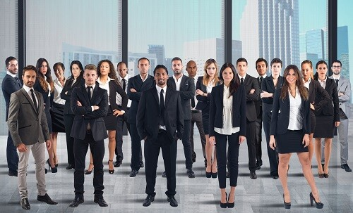Business team working together in a skyscraper