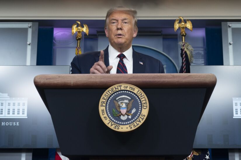 U.S. President Donald Trump speaks during a news conference in the James S. Brady Press Briefing Room at the White House in Washington, D.C., U.S. on Tuesday, Aug. 4, 2020. After weeks of criticizing vote-by-mail, Trump took to Twitter today to promote it in his home state of Florida. Photographer: Chris Kleponis/Polaris/Bloomberg