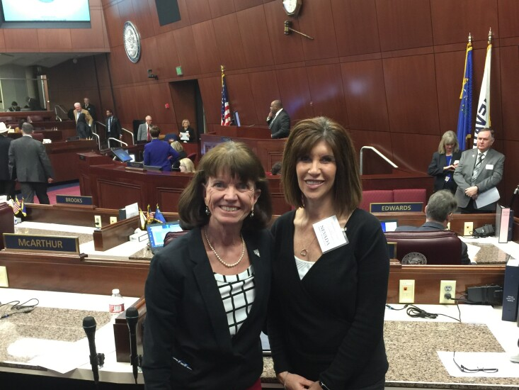 Financial Horizons CU (Hawthorne, NV) EVP Theresa Lupori with Nevada state Assemblywoman Robin Titus on the Assembly Floor on Feb. 15, 2017—the date of the Nevada Credit Union League Government Relations Rally in Carson City, NV.