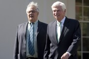 """Representative Barney Frank, a Democrat from Massachusetts and House Financial Services Committee Chairman, left and Senator Christopher """"Chris"""" Dodd, a Democrat from Connecticut and Senate Banking Committee Chairman, arrive to speak at a news conference at the White House in Washington, D.C., U.S., on Wednesday, March 24, 2010"""