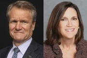 Brian Moynihan, Bank of America CEO, and Jennifer Piepszak, CFO of JPMorgan Chase.