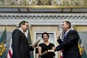 Comptroller of the Currency Joseph Otting is sworn in by Treasury Secretary Steven Mnuchin