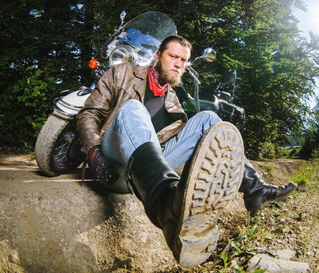 Angry biker motorcycle