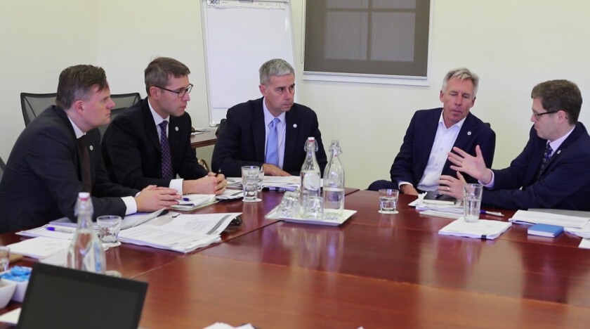(left to right) Will Day of the Australian Taxation Office, Eric Ferron of the Canadian Revenue Agency, Don Fort of IRS Criminal Investigation, Hans van der Vlist of the Dutch Fiscal Information and Investigation Service, and Simon York of Her Majesty's Revenue and Customs