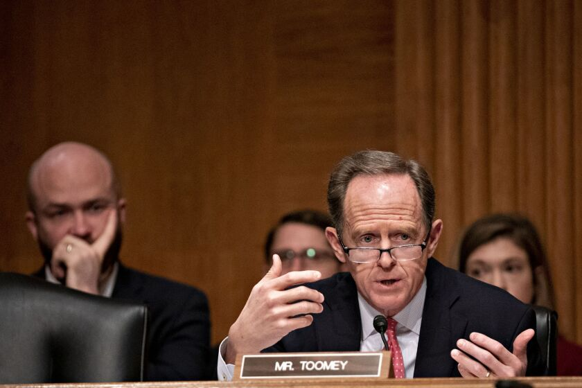 """""""I am open to working with my colleagues on how we could enable businesses that are operating legally in their respective states to be able to have ordinary banking services,"""" said Sen. Pat Toomey, R-Pa."""
