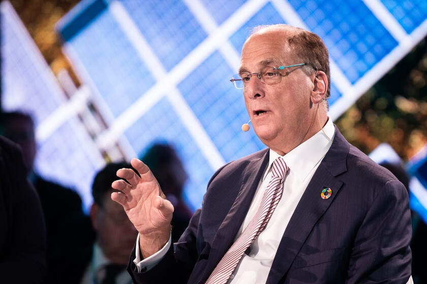 Larry Fink, chairman and chief executive officer of BlackRock Financial Management, speaks during the One Planet Summit in New York, U.S., on Wednesday, Sept. 26, 2018.