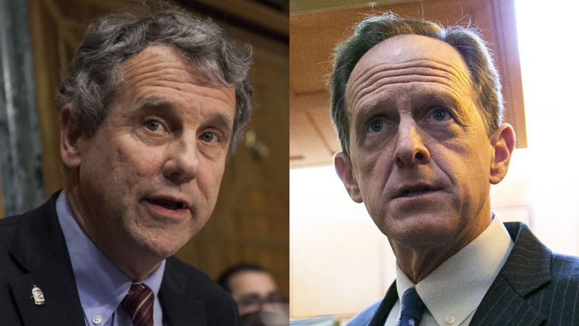 Observers caught a glimpse of the stark ideological differences between Sen. Sherrod Brown, D-Ohio, and Sen. Pat Toomey, R-Pa., who could soon chair the Senate Banking Committee, during a hearing with Fed Chairman Jerome Powell.