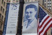 Mary T. Washington Wylie banner on LaSalle Street in Chicago
