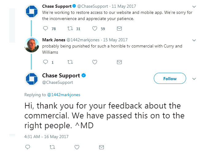 Snarky tweets between Chase and customers following outage in May