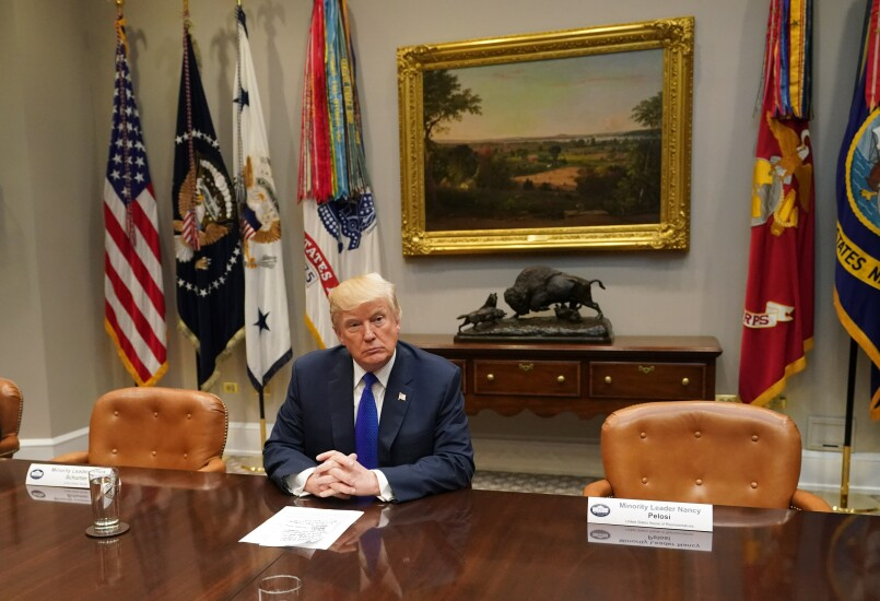 President Trump at a meeting where Nancy Pelosi and Chuck Schumer canceled their appearance
