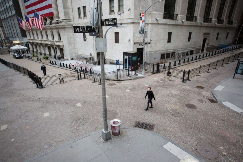 Wall Street corner vacant amid coronavirus Bloomberg photo