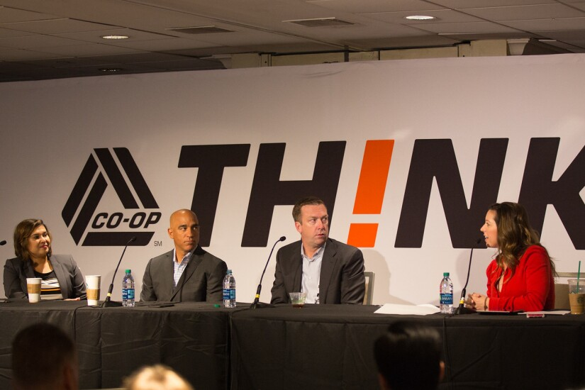 CO-OP Financial Services' executive team. From left: Shazia Manus, chief product and strategy officer; Nick Cancanes, chief information officer; Todd Clark, president/CEO; Samantha Paxson, chief marketing and experience officer at CO-OP's THINK 17 conference in New York.