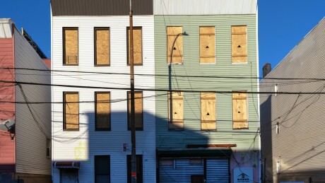 Boarded up residential buildings in the Port Morris neighborhood of the Bronx