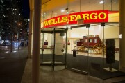 A Wells Fargo bank branch at night in New York.