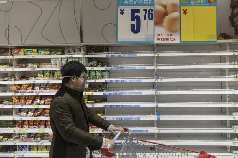 empty grocery shelves in China