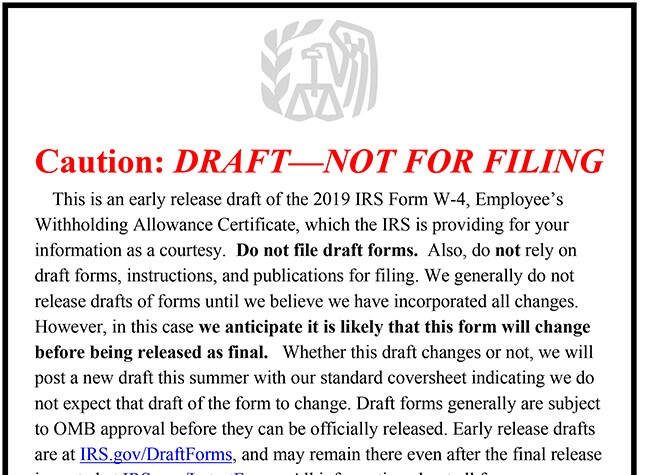 Draft warning for the proposed 2019 W4
