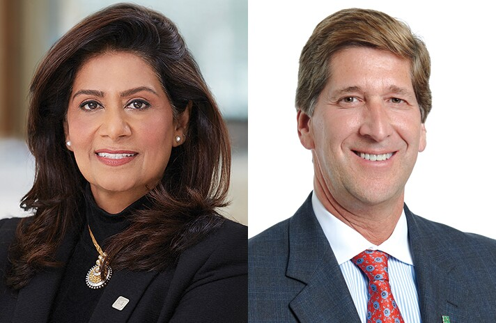 Nandita Bakhshi, President and CEO of Bank of the West (left), and Bruce Van Saun, Chairman and CEO of Citizens Financial Group.