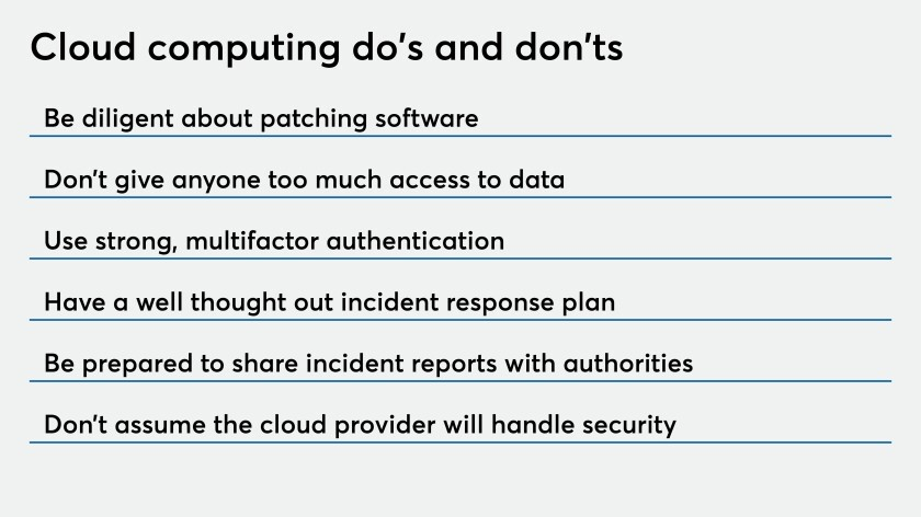Cloud computing do's and don'ts
