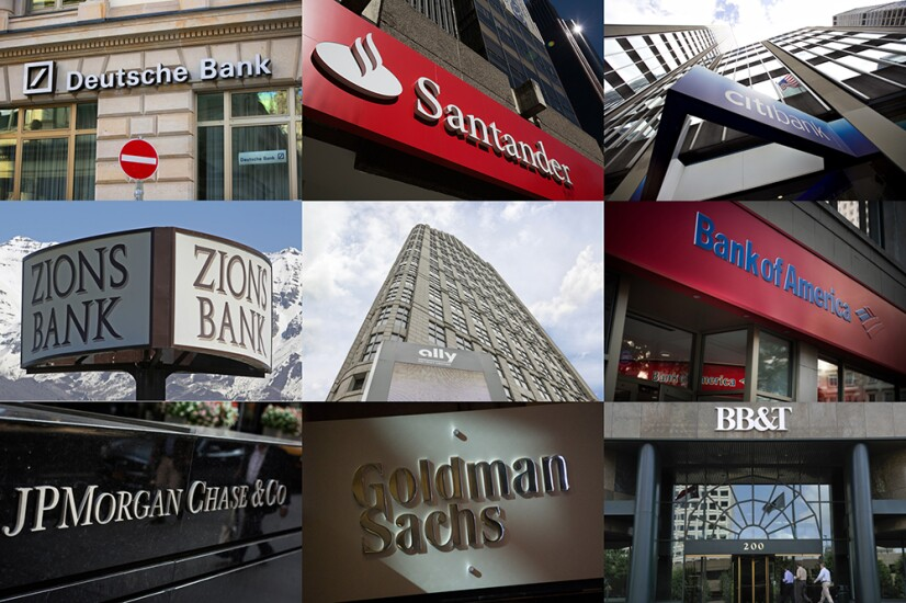 Branch signs of nine banks involved in the 2017 U.S. stress tests.