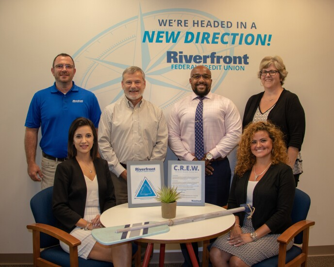 Some of the staff at Riverfront Federal Credit Union. From top left: Richard Schlamowitz (lending manager), Tim McLeod (president and CEO), Ebony McNeil (branch manager, Reading), Donna Smart (human resources specialist). Bottom left to right: Stephanie Capes (financial services representative), Cindy Troche (branch manager, Wyomissing).