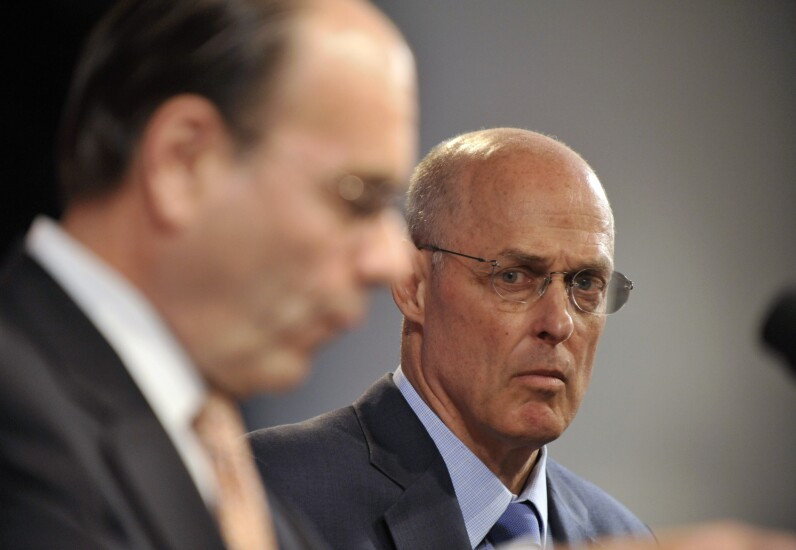 Then-Treasury Secretary Henry Paulson and James Lockhart, then the director of the FHFA