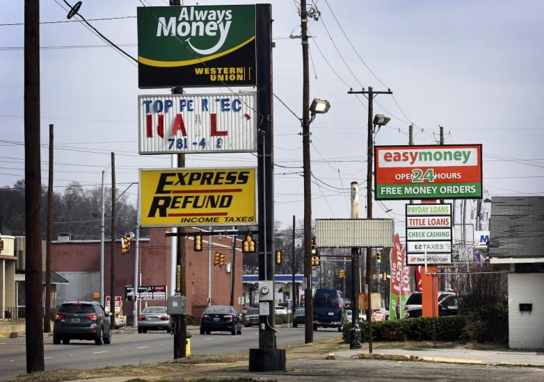 Payday lender signage
