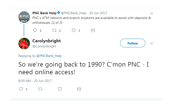 Angry tweet from customer to PNC