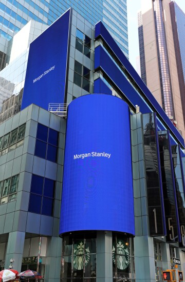 New York, NY, USA - July 16, 2017: The world headquarters of Morgan Stanley in New York City. Morgan Stanley is an American global financial services firm.
