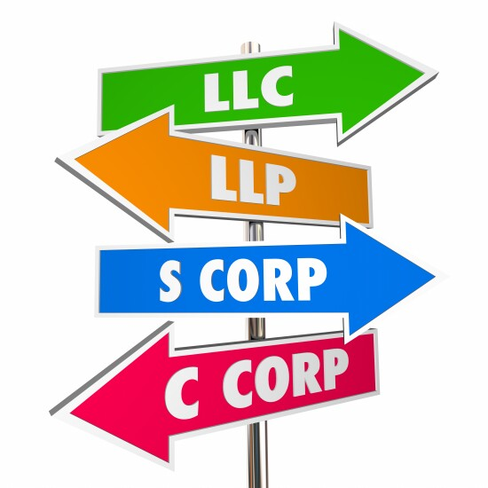 S Corp, C corp, LLC and other entity types
