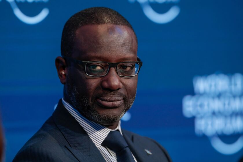 Tidjane Thiam, former chief executive officer of Credit Suisse, shown here during a panel session on day two of the World Economic Forum in Davos, Switzerland, on Jan. 22, 2020.