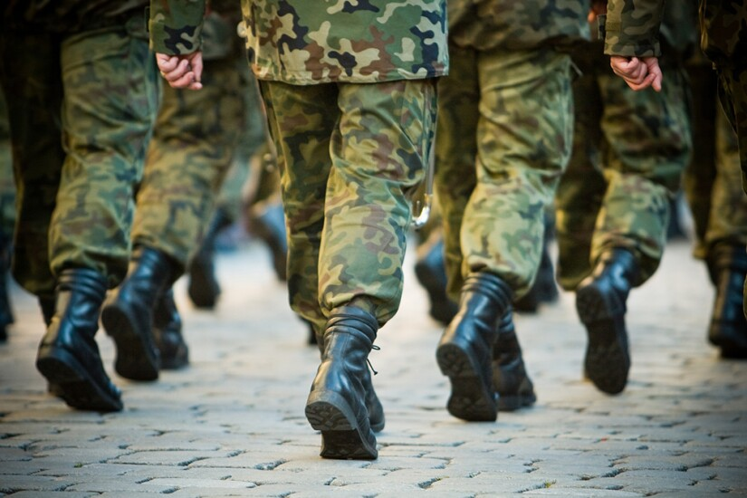 Soldiers marching in formation.
