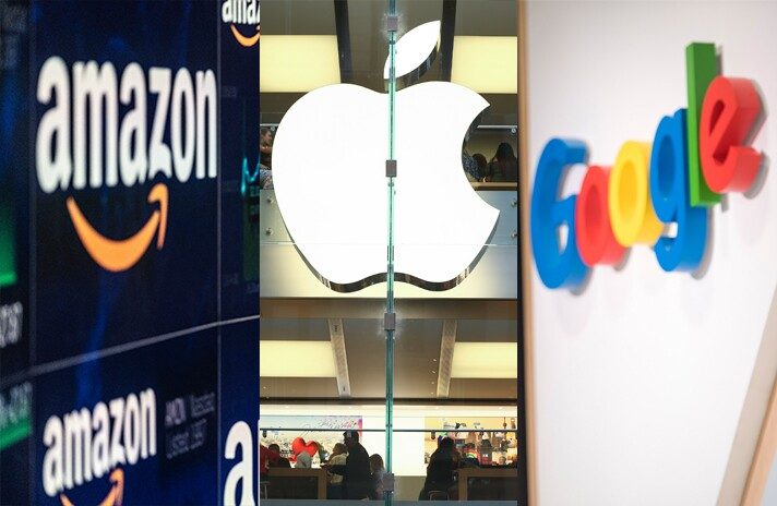 Logos for Amazon, Apple and Google