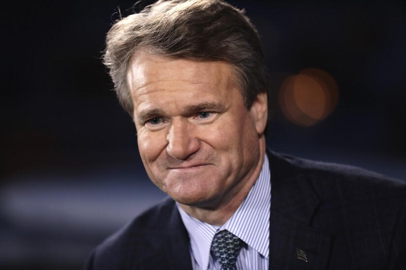 Brian Moynihan, CEO of Bank of America during a Bloomberg Television interview at the World Economic Forum in Davos, Switzerland, on Jan. 17, 2017