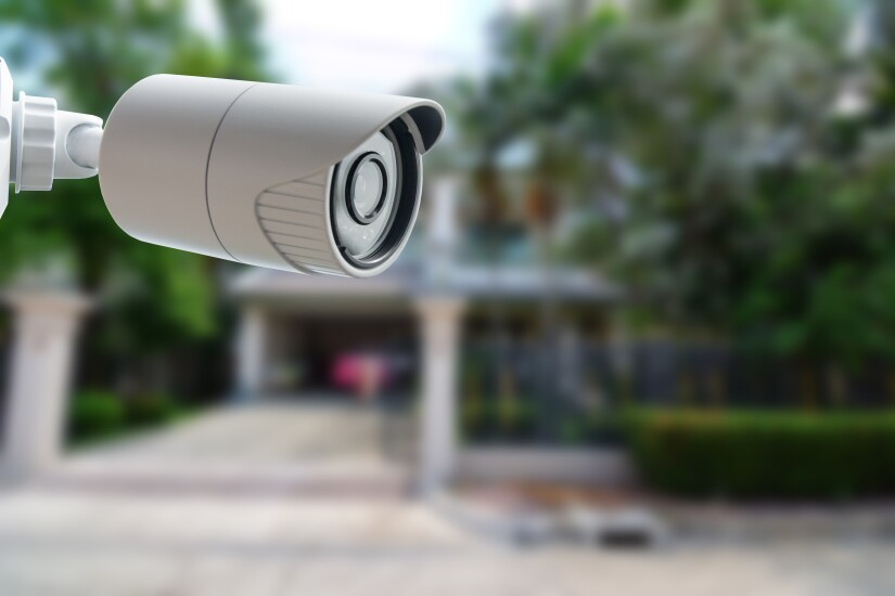 Surveillance camera, like in a home or office security system.