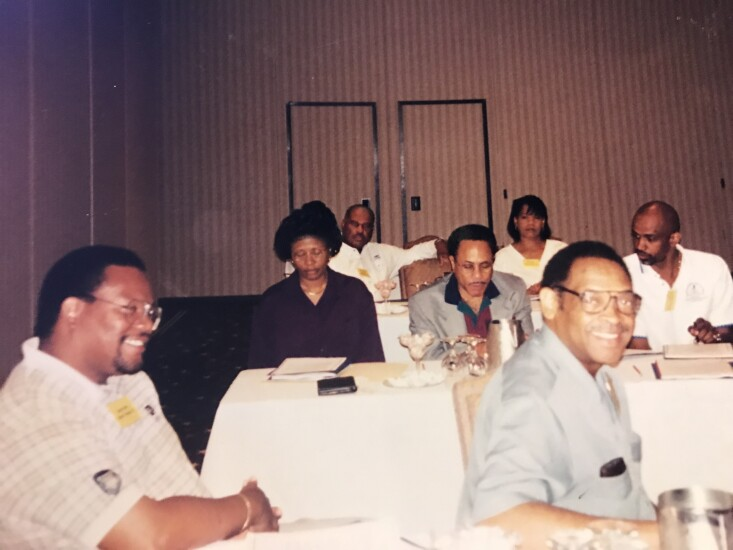 Members of the African-American Credit Union Coalition gather in St. Louis, Mo. in 1999 for the group's first annual meeting.