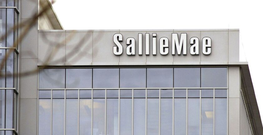 A logo hangs outside a Sallie Mae building in Reston, Va.